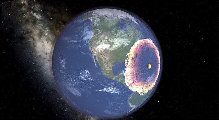 Simulation de l'impact de l'astéroïde